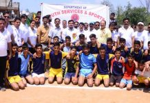 Teams posing alongwith chief guest, DDC Udhampur, Dr Piyush Singla at Sports Stadium, Udhampur on Monday.