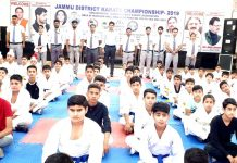 Karatekas during Jammu District Karate Championship in Jammu.