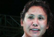 India's L Sarita Devi after winning gold.