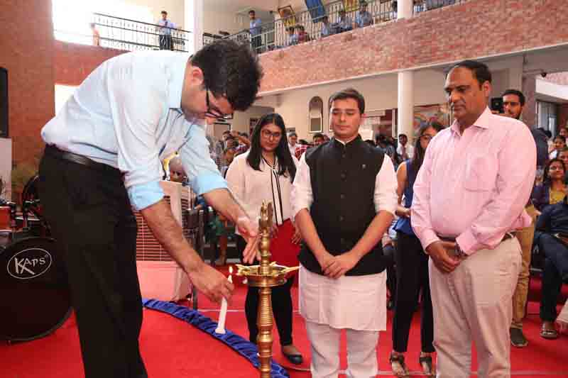 Bureaucrat turned politician, Dr Shah Faesal lighting the ceremonial lamp at Heritage School in Jammu.