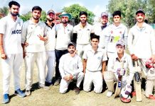 Emerging XI players posing for a group photography after registring win in Jammu on Saturday.