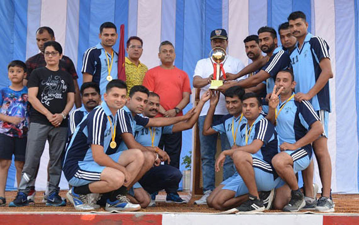 Winners of tournaments organised by CRPF posing along with chief guest and other dignitaries at Nagrota in Jammu.