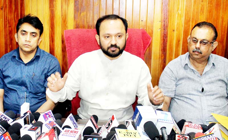 IkkJutt Jammu chief Ankur Sharma addressing a press conference on Thursday. -Excelsior/Rakesh