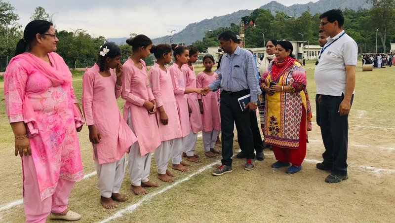 Chief guest, DYSSO Reasi interacting with teams at Zorawar Sports Stadium in Reasi.