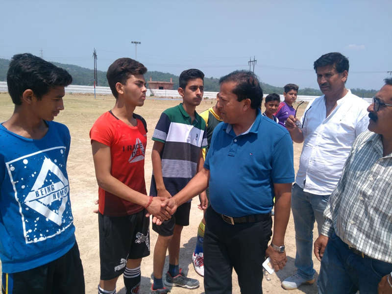 ZPEO interacting with players during Inter-zone Football match at Samba.