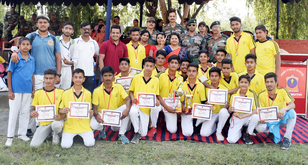 APS Rakhmuthi team posing for a group photograph after winning the Northern Command Inter-School T20 Tournament.
