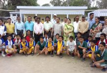 Players posing along with dignitaries and officials during inauguration of inter zone tournaments in Jammu.