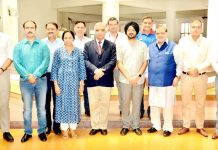 Members of Governing Council of Shri Mata Vaishno Devi Shrine Board's Sports Complex, Katra posing for a group photograph after meeting on Saturday.