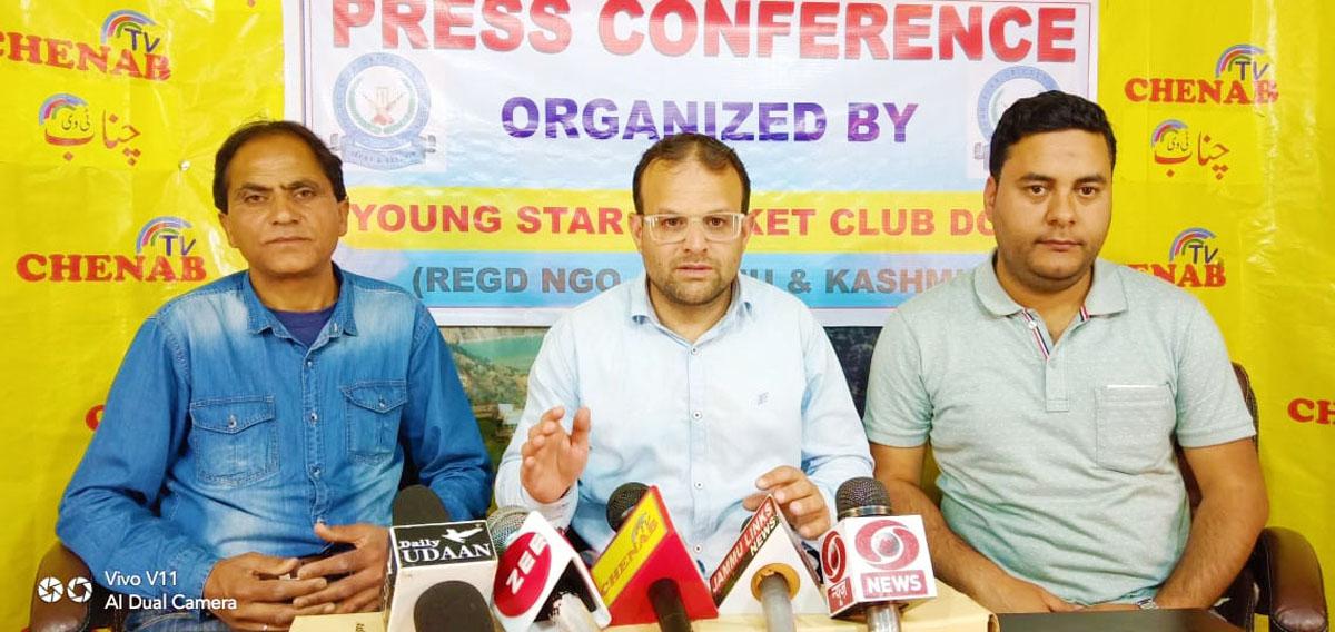 Representatives of YSCC Doda addressing media persons on Wednesday.