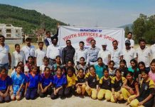 Teams posing along with DYSSO Udhampur at Sports Stadium, Udhampur on Wednesday.