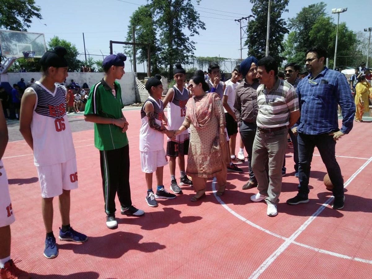 DYSSO Jammu Chanchal Kour interacting with players in Jammu on Wednesday.