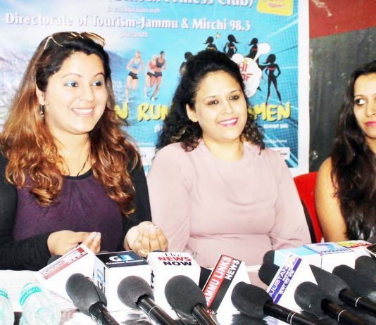 Organisers of 'She Runs This Town' addressing media persons in Jammu. -Excelsior/Rakesh