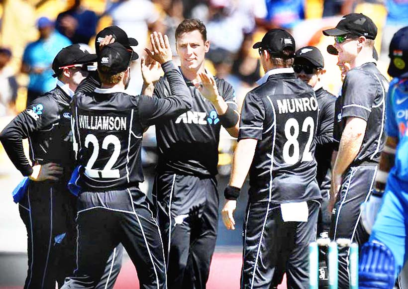 Trent Boult celebrating dismissal of Indian batsman along with his team mates in Warmup game London on Saturday.