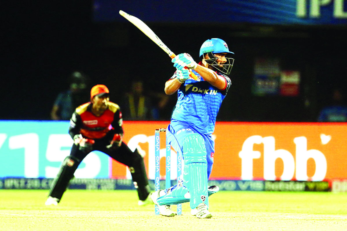 Rishabh Pant executing a short against Sunrisers Hyderabad at Vishakhapatnam on Wednesday.