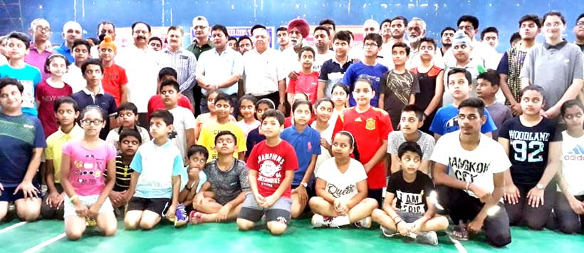 Young participants posing along with chief guest at Indoor Complex, MA Stadium, Jammu on Thursday.