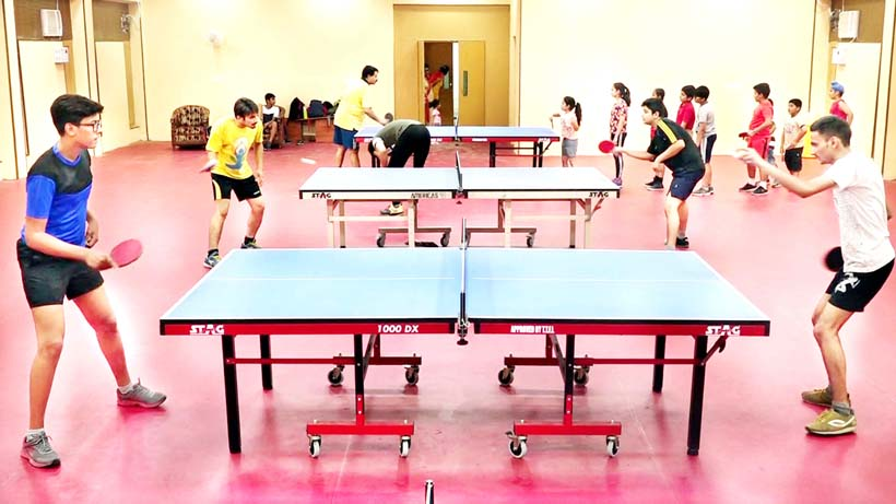 Paddlers in action in newly developed Table Tennis Hall at Indoor Complex, MA Stadium in Jammu.