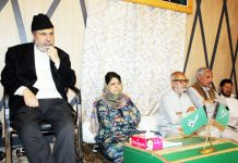 PDP meeting under the leadership of PDP President Mehbooba Mufti at Gupkar in Srinagar. — Excelsior/Shakeel