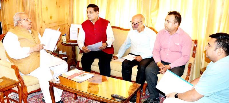 Governor Satya Pal Malik meeting Mayor JMC, Chander Mohan Gupta on Tuesday.
