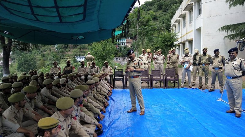DGP Dilbag Singh interacting with officers and jawans at Reasi.