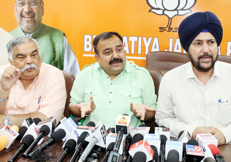 BJP leaders at a press conference at Jammu on Wednesday. —Excelsior/Rakesh