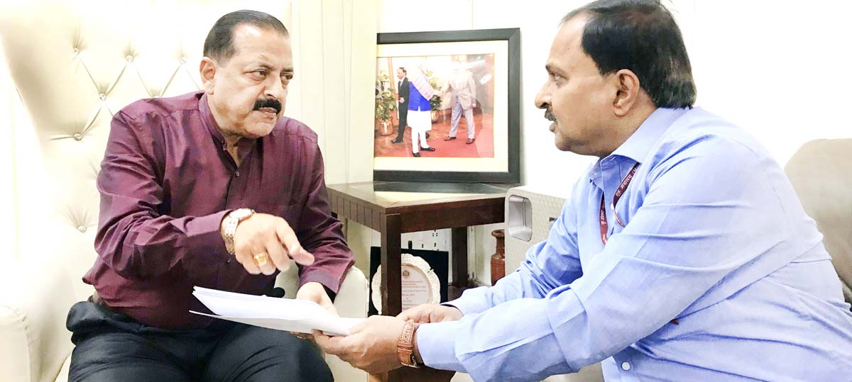 Union Minister Dr Jitendra Singh in discussion with NHAI officer on Tuesday.
