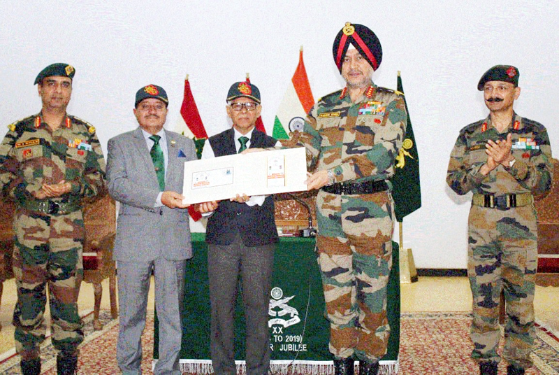Lt Gen Ranbir Singh releasing a 'First Day Cover' to commemorate the 25 Glorious Years of 20th Bn Rashtriya Rifles (Dogra).