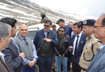 Advisors KK Sharma and Vijay Kumar inspecting Mughal Road on Wednesday.