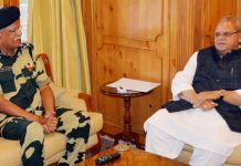 Governor Satya Pal Malik meeting Director General, BSF Rajni Kant Mishra on Thursday.