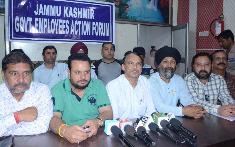 Leaders of Jammu Kashmir Employees Action Forum addressing a press conference at Jammu on Wednesday. —Excelsior/Rakesh