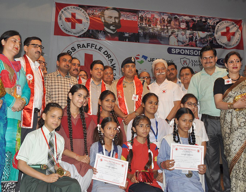 Divisional Commissioner Jammu Sanjeev Verma and other officers during a function in connection with Raffle Draw.