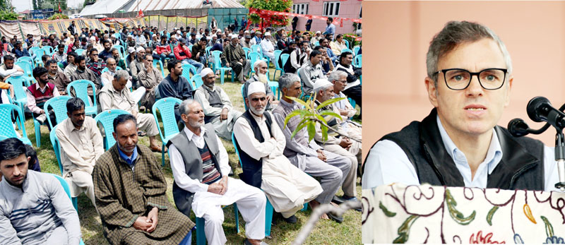 NC vice president Omar Abdullah addressing a rally in Pulwama on Wednesday. —Excelsior/Younis Khaliq