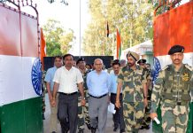 Advisor K K Sharma during visit to Suchetgarh border on Saturday.