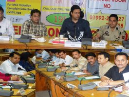 Divisional Commissioner Jammu, Sanjeev Verma chairing a meeting at Udhampur on Thursday.