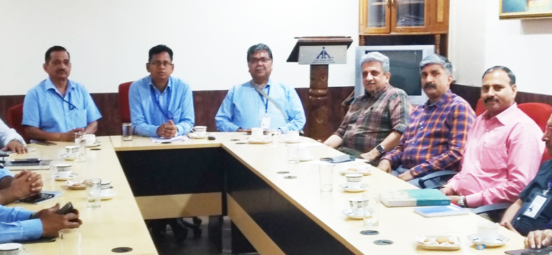 A team of PHD Chamber of Commerce & Industry in a meeting with Dr. Pravat Ranjan Beuria, Airport Director at Jammu on Wednesday.