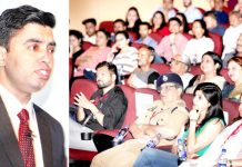 A speaker addressing the audience during a motivational programme at Jammu Club on Sunday. -Excelsior/Rakesh