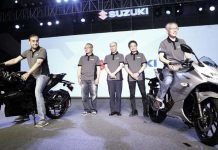 Officials of Suzuki Motorcycle India Private Limited (SMIPL) launching Gixxer SF motorcycles.