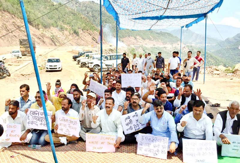 Panthers Party activists staging protest dharna in Udhampur.