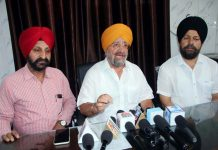 SGPB chairman, TS Wazir addressing press conference in Jammu on Thursday. -Excelsior/ Rakesh