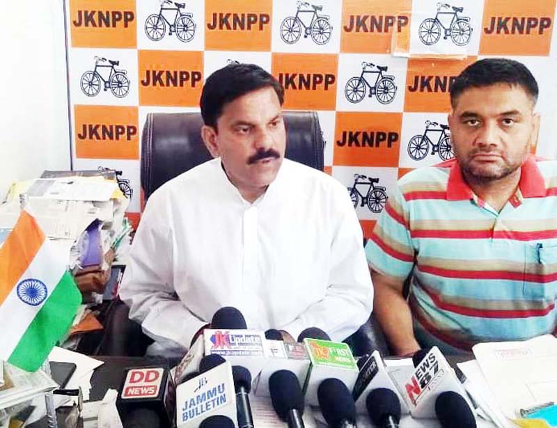 NPP leader Harsh Dev Singh addressing press conference in Jammu.
