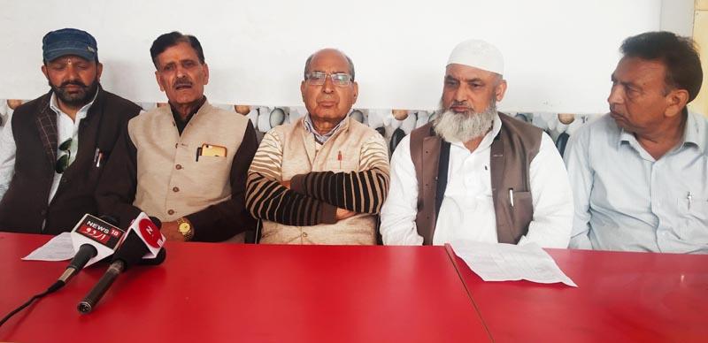Leaders of Shri Sanatan Dharam Sabha and Anjuman-e-Isalamia Bhadarwah during a press conference. —Excelsior/Tilak Raj