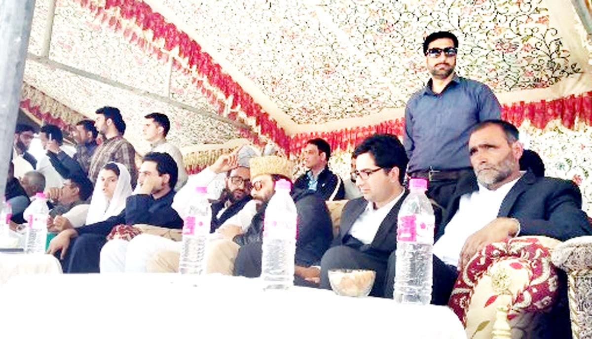 JKPM leader Dr Shah Faesal and others at a public meeting in Bandipora on Sunday.