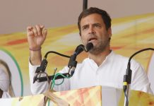 Congress President Rahul Gandhi addressing an election rally at Bargari Stadium, in Faridkot, Punjab on Wednesday. (UNI)