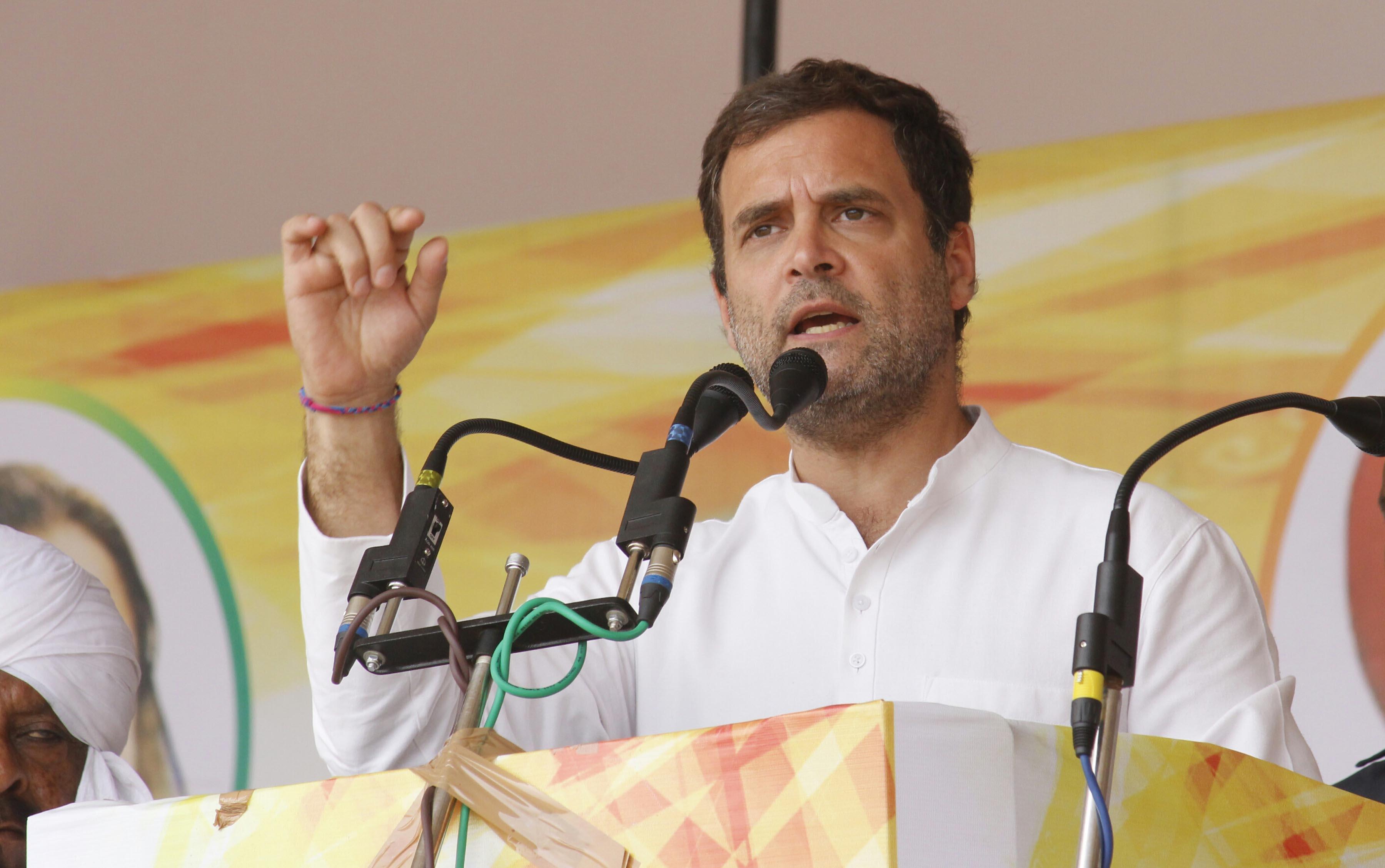 Congress President Rahul Gandhi addressing an election rally at Bargari Stadium, in Faridkot, Punjab on Wednesday. (UNI)