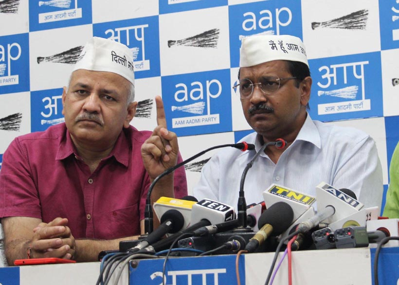 Delhi Chief Minister Arvind Kejriwal along with Aap leader Manish Sisodia and Gopal Rai addressing a press conference at Aap Party office in New Delhi on Wednesday. (UNI)