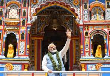 Prime Minister Narendra Modi coming out of Badrinath temple after offering puja on Sunday. (UNI)