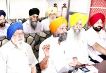 Panthic Morcha members, Avtar Singh Khalsa and others at a press conference in Jammu on Thursday. -Excelsior/Rakesh