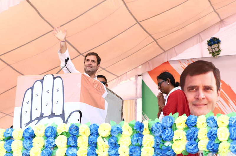 Congress President Rahul Gandhi addressing an election rally at Neemuch in Madhya Pradesh on Tuesday. (UNI)