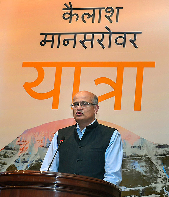 Foreign Secretary Vijay Gokhale address during the online computerized draw for the Kailash Manasarovar Yatra 2019, on Wednesday.