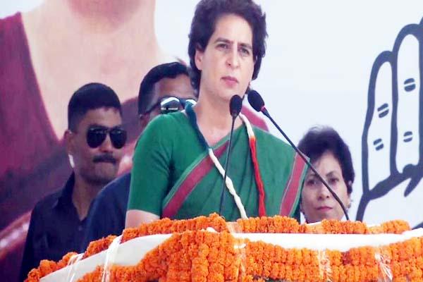 Congress leader Priyanka Gandhi Vadra addressing rally in Ambala on Tuesday.