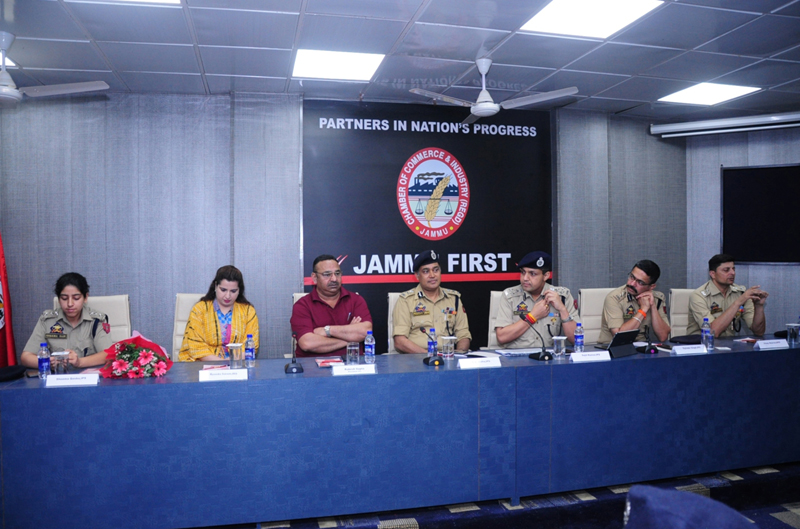 IGP Jammu, MK Sinha, Jammu Chamber president and other officers at a function in Jammu on Thursday.